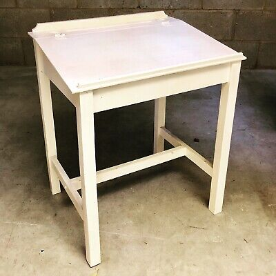 Vintage School Desk Writing Slope With Storage Painted White • 15£