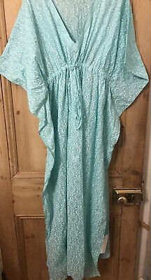 Kaftan Style Nightdress In Blue And White  Handblock Print FASHION SAMPLE Size L • 4£