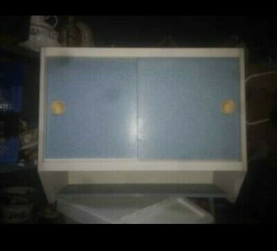 Retro 1960s Kitchen Wall Unit With Blue Formica Sliding Doors • 45£