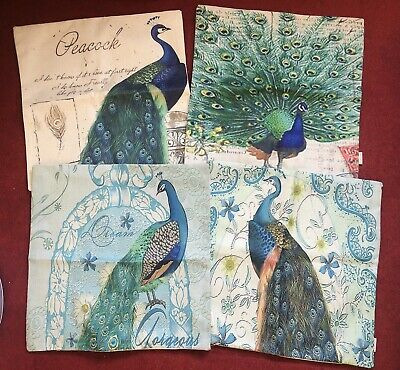 Set Of 4 New Peacock Cushion Covers • 25.99£