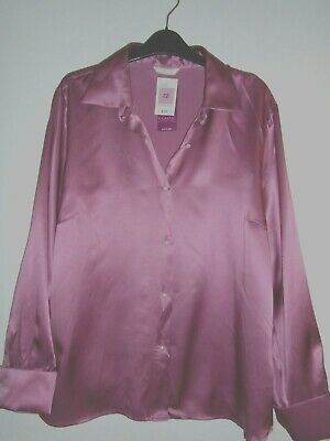 M&S Dusky Rose Pink Pure Silk Blouse Size 22 Pearl Buttons And Cuff Links £32 • 6.50£