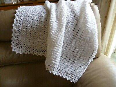 Beautiful New Crochet Baby Blanket/Shawl With Matching Hats. 34 X34  Approx • 5£