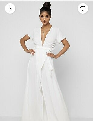 White Beach Wrap Dress Maxi Cover Up Size S • 5£