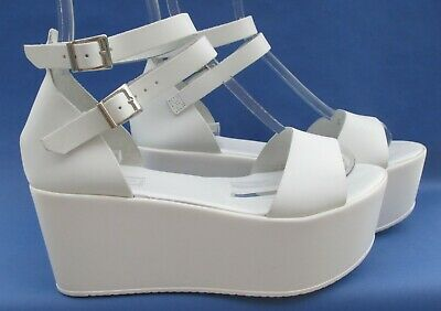 Topshop Size 6 (39) White Italian Leather High Heel Summer Wedges  • 21.99£
