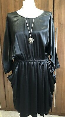 Ghost Viscose Black Dress Tunic Vintage Immaculate Comfy 14 16 • 15£