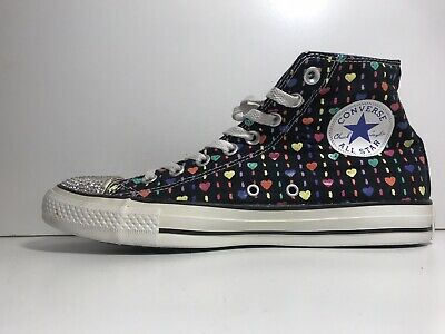 Converse All Star High Tops Heart Pattern & Sparkles Size 7 Uk • 19.95£