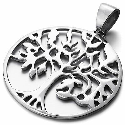 Men's Round Tree Of Life Polished Silver 316L Stainless Steel Pendant Necklace • 9.59£