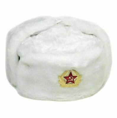 Russian Soviet Army Hat With Badge Real Military Fur Soldiers Ushanka Headwear • 12.95£
