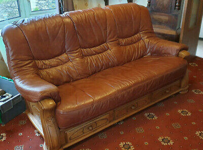 Faux Brown Leather 3 Piece Suite With Drawers - Great Condition • 199£