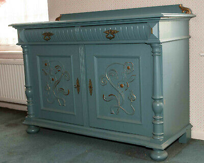 Painted Danish Rustic Sideboard From 1890s. Separate Wall Mounted Display Rack. • 100£