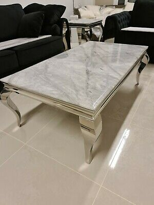 Louis Grey Marble Coffee Table Louis Chrome Legs Living Room Furniture • 309.95£