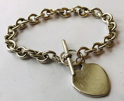 T-bar And Heart Charm Silver Bracelet-26,20 Grams Weight • 14.99£