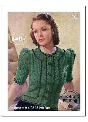 1940s Boucle Jumper With Crochet Trim Knitting Pattern Bust 33-35 Copy • 4.99£