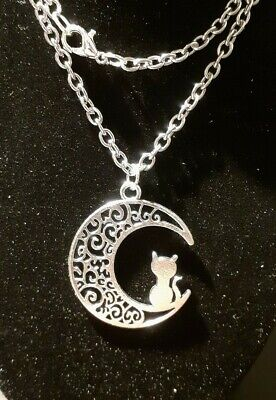 Silver Crescent Moon Cat 16   Stainless Steel Chain Necklace, Witch Wicca Magic • 4.85£