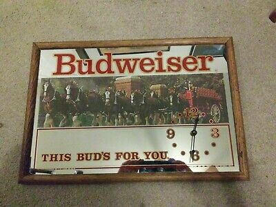 $ CDN114.44 • Buy Vintage Budweiser Clydesdale Clock Mirror By Stamford Art 13 X 17 WORKING!!