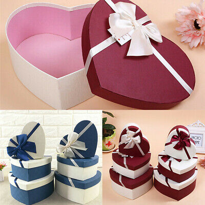 £10.25 • Buy 3Pcs/set Bow Knot Heart Shaped Gift Packaging Box Weeding Party Decor Supplies