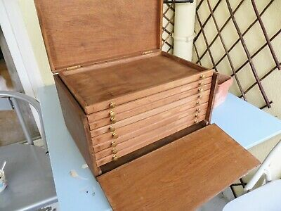 Antique Oak Collectors Cabinet, Watchmakers Drawers, Vintage Tool Box / Chest  • 295£