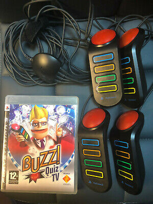 Buzz Game USB Controller Buzzers Sony Playstation 2 3 PS2 PS3 Plus Quiz TV Game • 7.70£