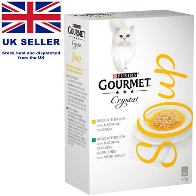 Gourmet Soup Chicken Variety Cat Food Refined Broth - (4 X 40g) NEW • 9.99£