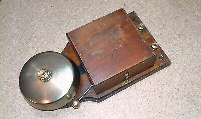LARGE WOODEN CASED ELECTRIC BELL With BRASS GONG  1900s-20s  V.g.c And Working • 75£