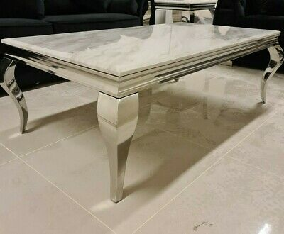 Louis White Marble Coffee Table Louis Chrome Legs Living Room Furniture • 309.95£