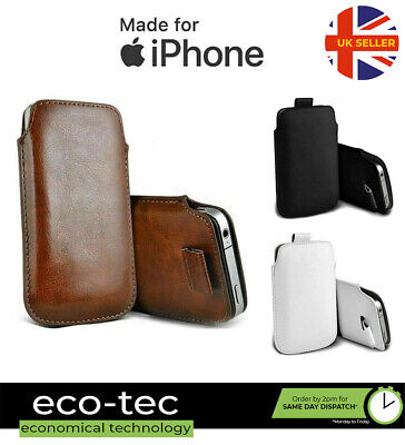 Premium Soft Faux Leather Pouch Case With Pull Tab For IPhone 11 XS XR X 8 7 6S • 4.09£