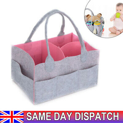 View Details Baby Diaper Organizer Caddy Felt Changing Nappy Kids Storage Carrier Bag Grey-UK • 7.49£