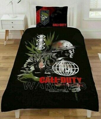 £22.99 • Buy Single Bed Duvet Cover Set Call Of Duty Warning Reversible War Army Battle