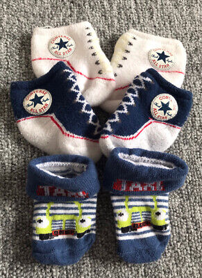 CONVERSE ALL STAR BABY INFANT SLIP ON SOCK BOOTIES X2, 0-6 MONTHS + Taxi Theme • 1.25£