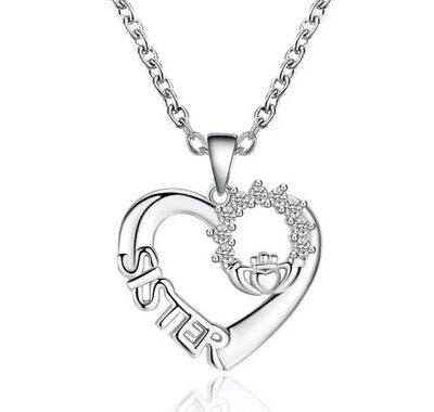 £5.99 • Buy Silver Sister Heart Shaped Pendant Sister Necklace Chain Birthday Christmas 772