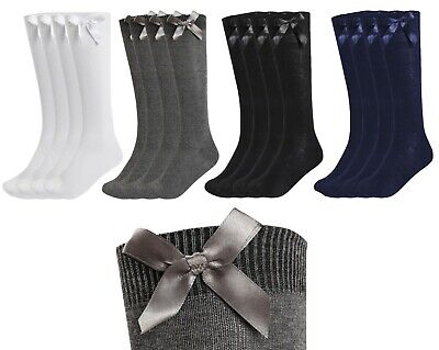 New Girls Up To 3 Pk Value Knee High Bow Detail Back 2 School Cotton Rich Socks • 3.95£