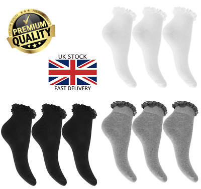 New Girls 3 Multi-Pack Value Lace Top Frilly Ankle School Trainer Socks  • 2.95£
