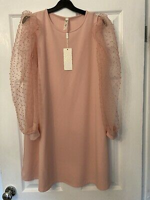 Ladies Bnwt Stella Morgan Pink Tulle Sleeve Dress S/M Up To Size 14 • 20£