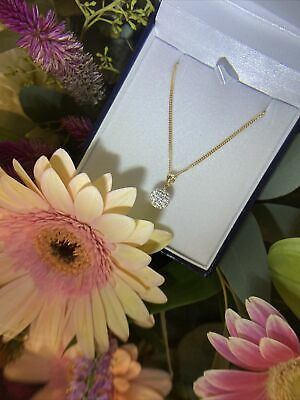 AU195 • Buy BNIB 9ct Yellow Gold Crystal Ball Pendant On A 9ct Gold Solid Curb Chain 42cm
