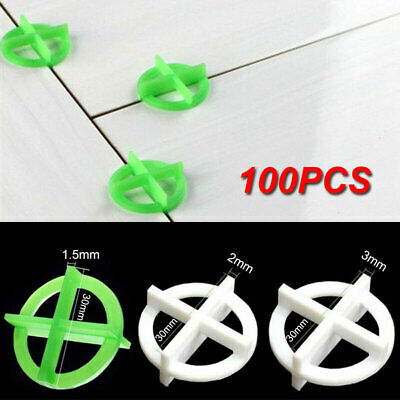 100Pcs Cross Tile Leveling System Spacers Recyclable Plastic Tools 1.5mm/2mm/3mm • 5.98£