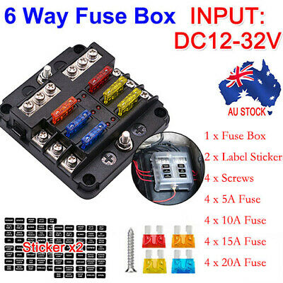 AU22.99 • Buy 6 Way Blade Fuse Box 23PC Block Holder Indicator LED Light 12V/32V Car Marine