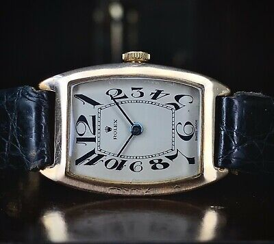 1920s Art Deco 9ct Gold Rolex Tonneau With Exaggerated Dial, Beautiful Rare • 2,950£