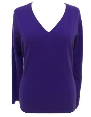 Designer N.PEAL 100% CASHMERE ROYAL PURPLE Short V Neck Knit Jumper Top UK 14 • 26£
