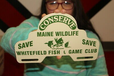 $ CDN12.65 • Buy Fish Game Club Fishing Hunting License Plate Topper Gas Oil Porcelain Metal Sign