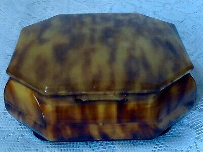 Art Deco Celluloid Octagonal Faux Toitoiseshell Jewellery Box, Good Hinged Lid • 65£