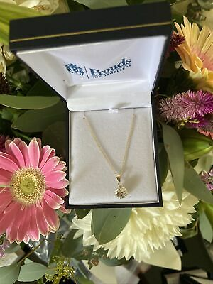 AU15.99 • Buy Prouds 9ct Crystal Cluster Pendant On A Complimentary Gold Plated Chain