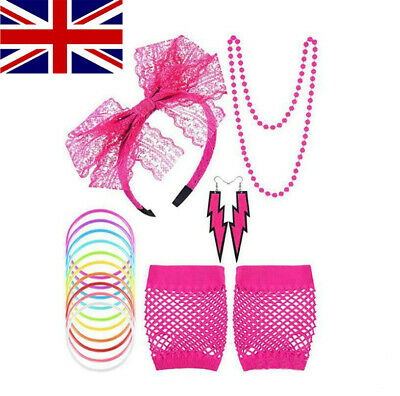 80s Neon Accessories Leg Warmers Fishnet Gloves Beads Hen Party Fancy Dress Rave • 6.95£