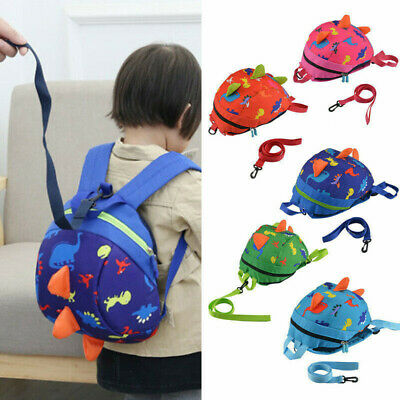 Kids Toddler Safety Backpack Harness With Reins Walker Baby Cartoon Dinosaur Bag • 8.99£