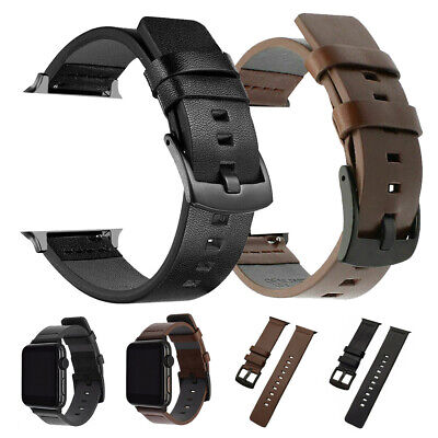 AU13.75 • Buy For Apple Watch Series 6 5 4 3 2 Genuine Leather Strap Wrist Band 38/40/42/44mm