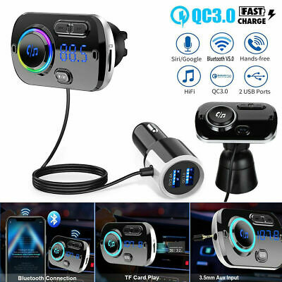 Wireless Bluetooth 5.0 Car FM Transmitter Radio Kit MP3 Player Handsfree USB AUX • 11.99£