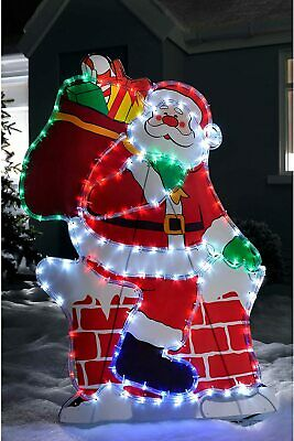 £70 • Buy Santa Chimney LED Silhouette Rope Light Up Outdoor Christmas Decoration New