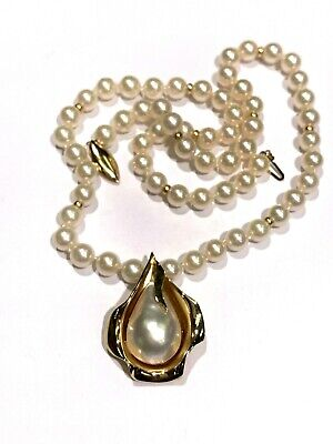 $995 • Buy 14k Yellow Gold Mabe Pearl Enhancer On Pearl Necklace