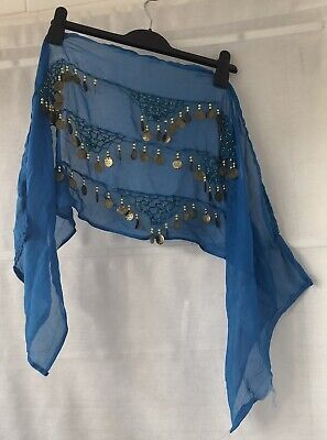Belly Dancing Blue And Gold Coin Hip Belt • 2£