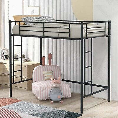 3FT High Loft Bed Twin Ladders Sleeper Cabin Bed Metal Bunk Bed Frame Day Bed • 120£