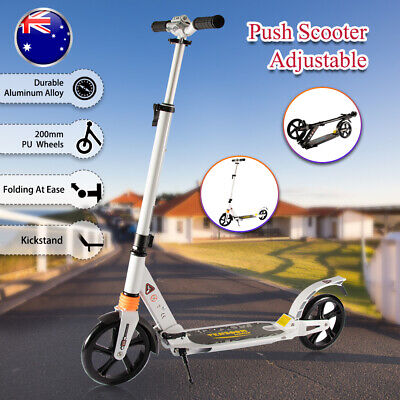 AU72.59 • Buy Kick Scooter Large Wheels Foldable Kids Adult Ride Adjustable Supension Gift